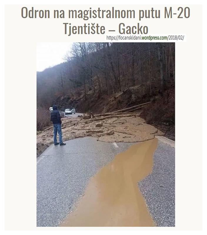 Odron na magistralnom putu M-20 Tjentište – Gacko