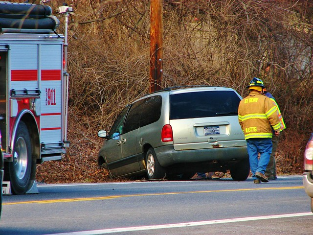 A CRASHED DODGE CARAVAN IN ST REMY NY MARCH 2018
