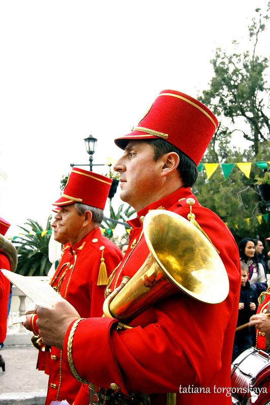 Музыканты из городского оркестра на Цветочном шествии