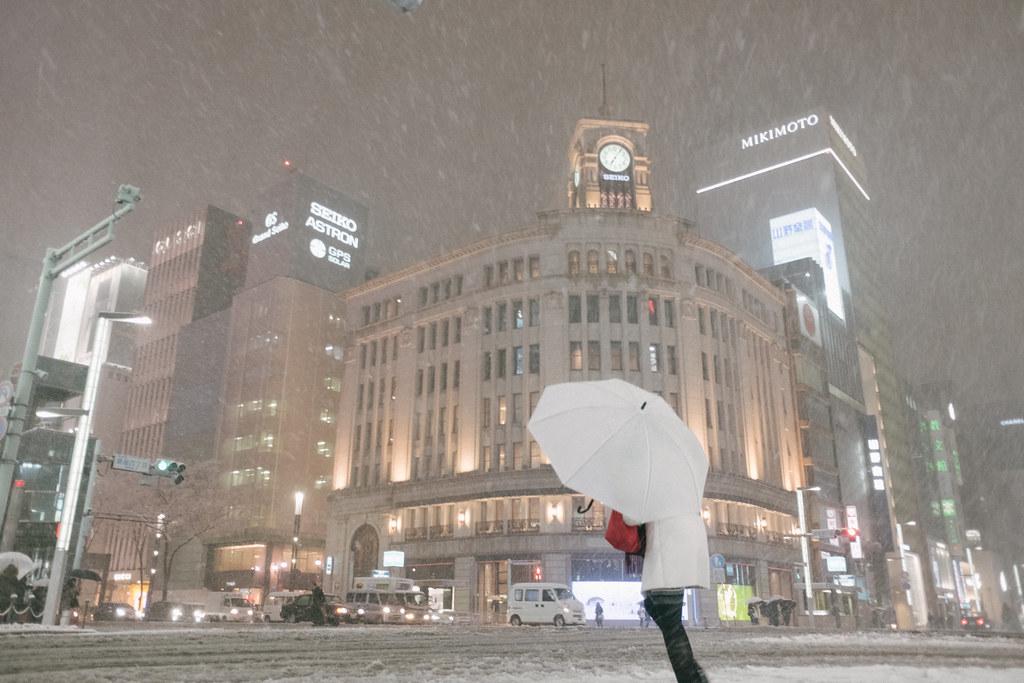 雪の銀座四丁目 2018/01/22 X7000139
