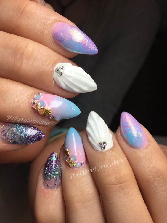Best 50 Mermaid Acrylic Nails On Trend This Year Fashionre