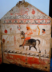 "Tomb with painted slabs: ""Return of warrior"" (330-320 BC) - Archaeological Museum of Paestum"