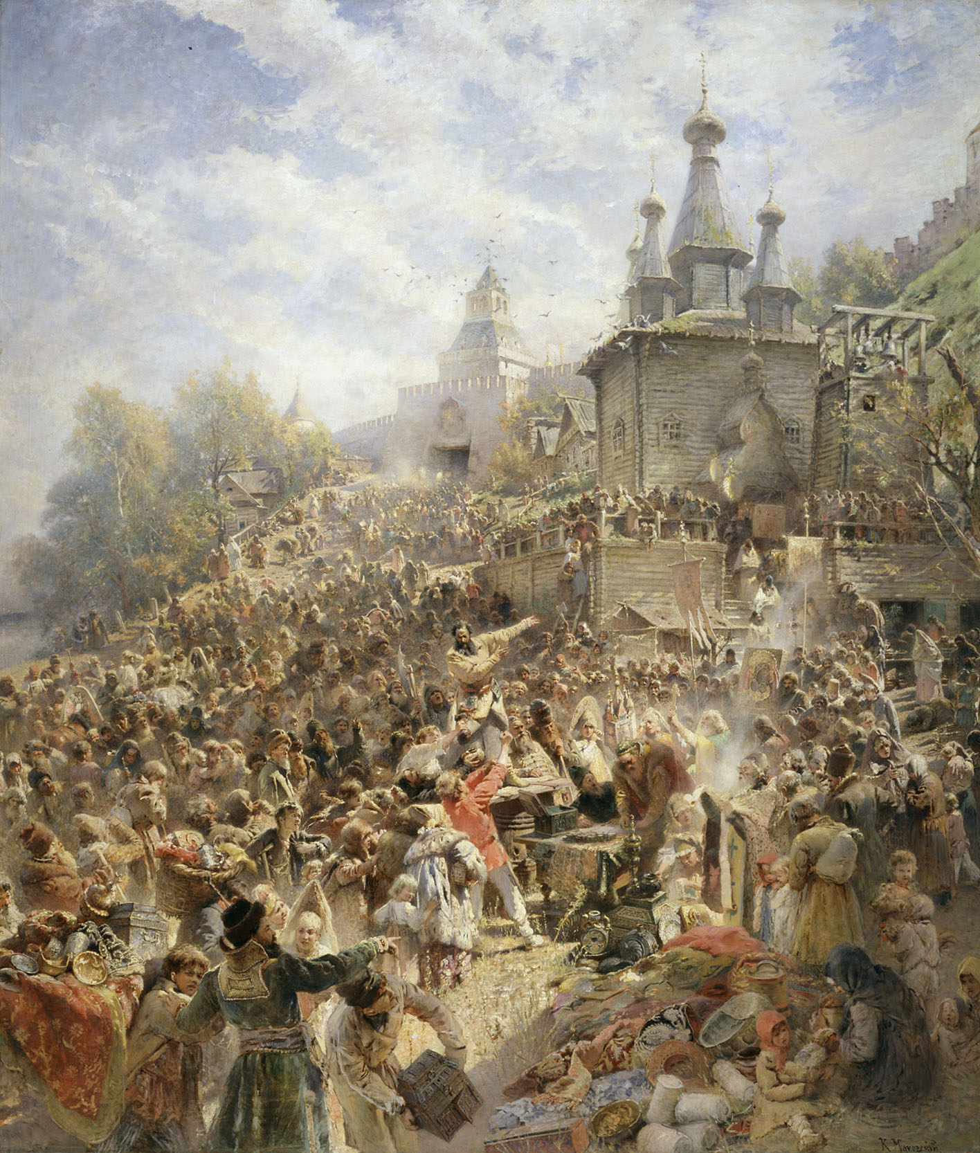Minin appeals to the people of Nizhny Novgorod to raise a volunteer army against Polish forces, by Konstantin Makovsky.