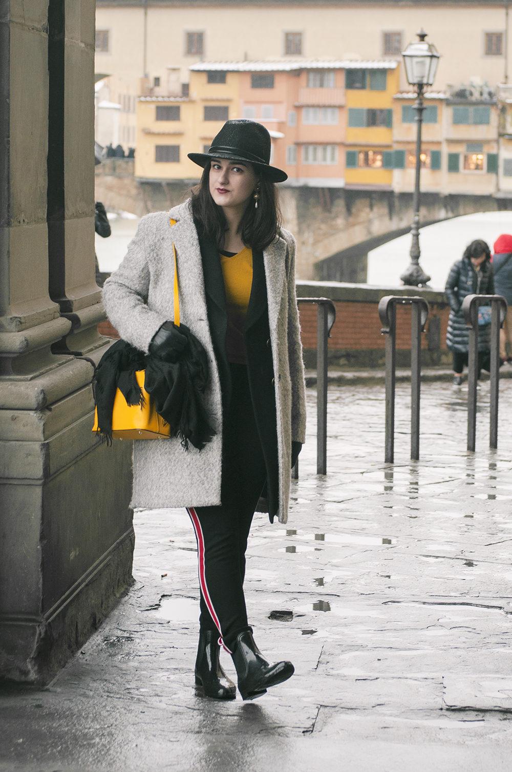 somethingfashion blogger firenze collaboration outfit casual mustard top jersey shein vest firenze snow pontevecchio_0705