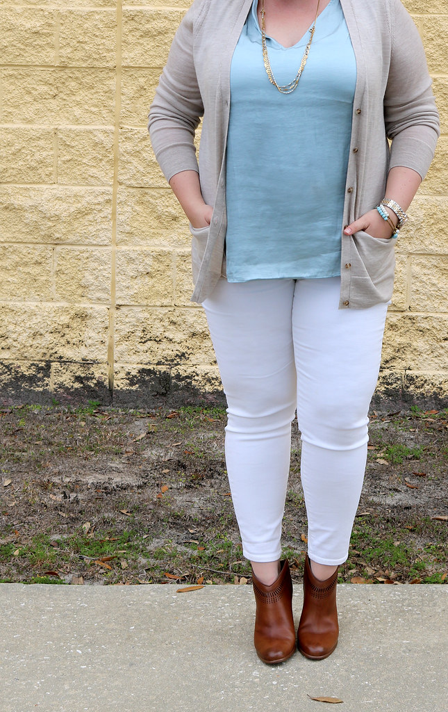 white jeans, tan cardi, aqua shell, cognac booties 6