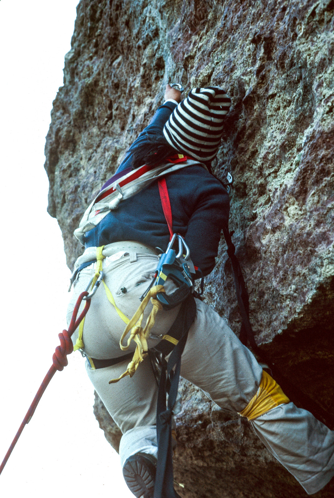 Faye leading the last pitch out of the cave, west face of Monkey Face
