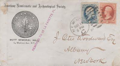James Otis Woodward envelope from ANS