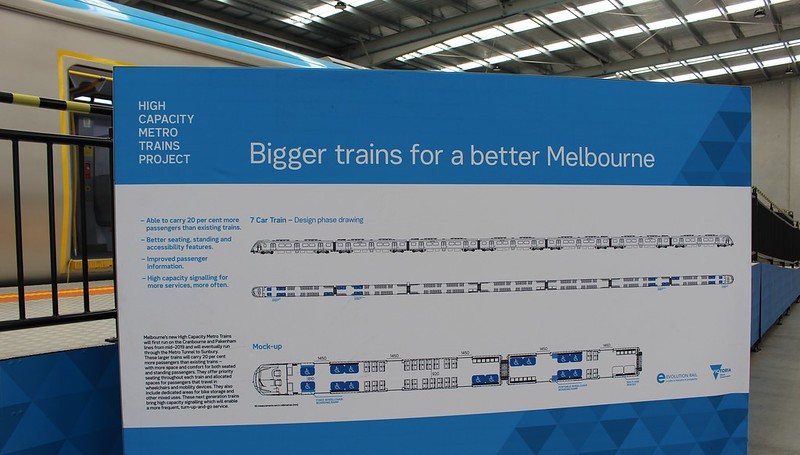 New metro train mockup: diagram showing 7-car layout and consist