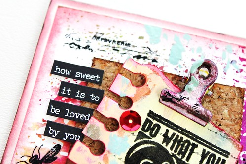 Meihsia Liu Simply Paper Crafts Mixed Media Love Note Card Simon Says Stamp Monday Challenge Tim Holtz Prima Flowers 2