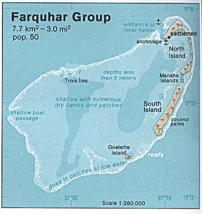Map of Farguhar Group, Seychelles Outer Islands.