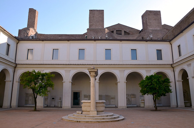 View of the small Cloister of the Charterhouse, Bath of Diocletian Museum, National Museum of Rome