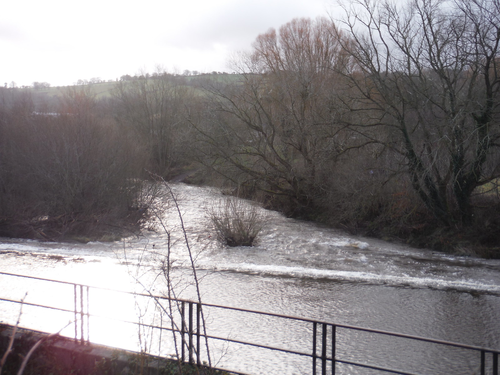 Weir on River Usk SWC Walk 306 - Brecon Circular (via Y Gaer, Battle and Pen-y-crug)