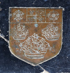 three sailing ships with Tudor roses and quartered royal arms of England and France (John Eldred, 1632)