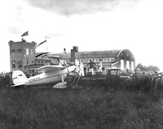 Wiley Post's plane, Winnie Mae, at the Edmonton Municipal Airport, Alberta, during his solo flight around the world in 1933