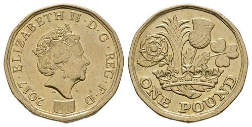 2017 One Pound Coin Obsolete Blank Error