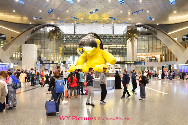 2018 Doha, Hamad International Airport. Main Lobby With The Giant Lamp Bear.