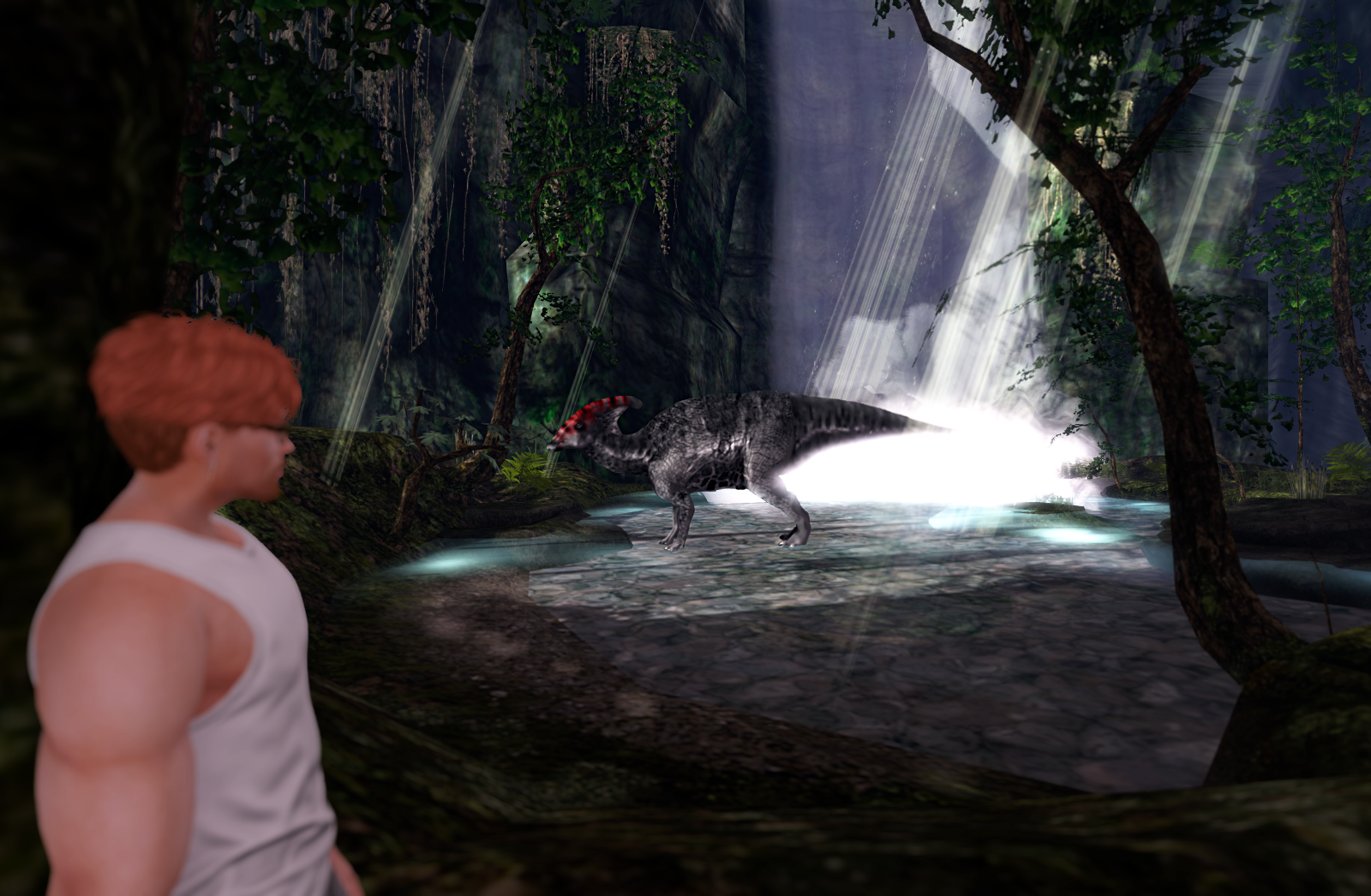 First encounter with the reptiles: a Parasaurolophus