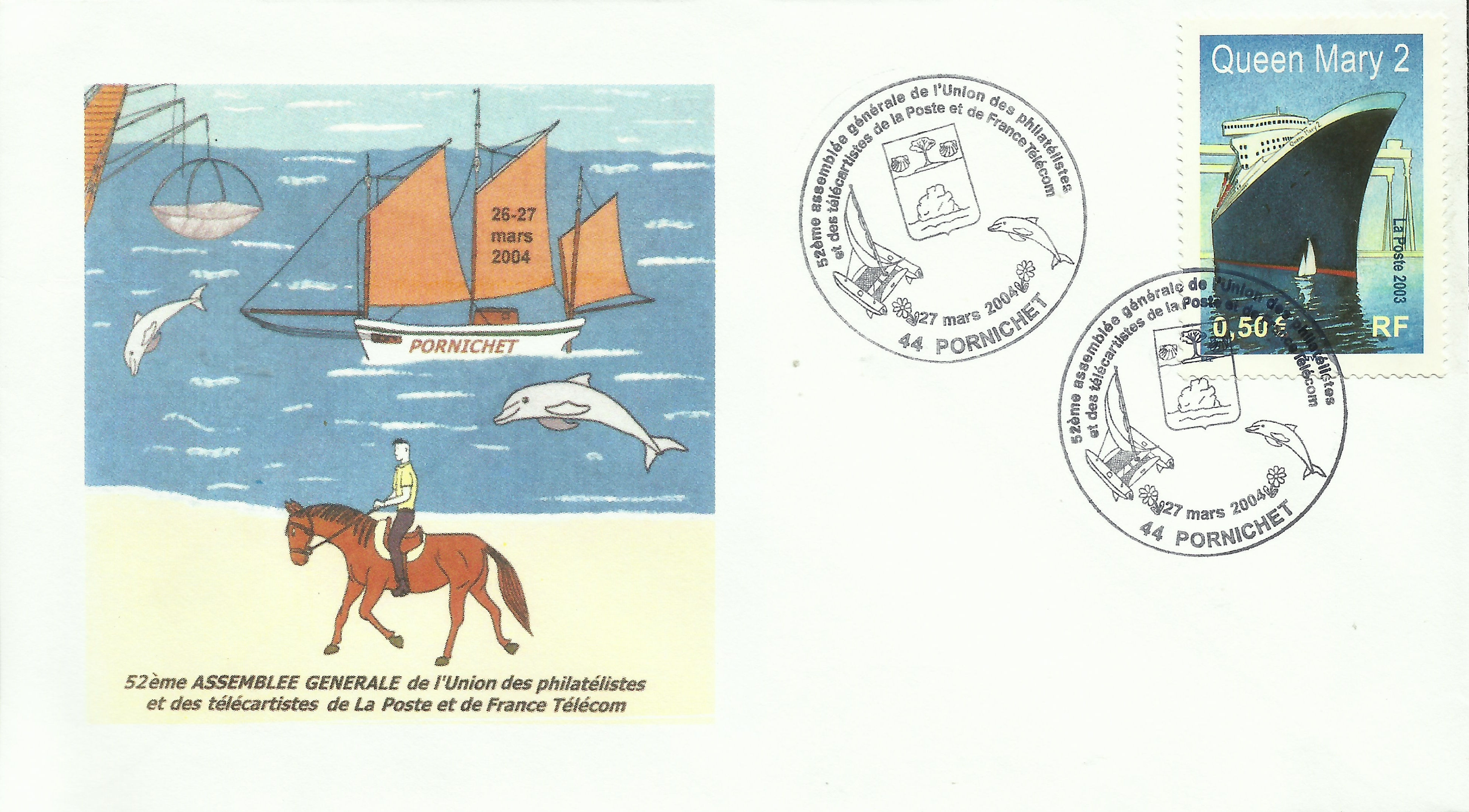 Cover bearing France #2988 (2003), postmarked at a philatelic society meeting in Pornichet on March 27, 2004.