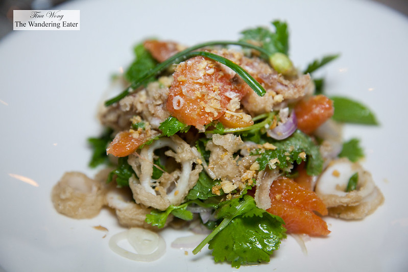 Salt & Pepper Squid, Grapefruit, Cilantro, Hot & Sour Dressing