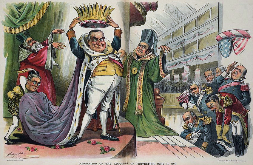Louis Dalrymple cartoon from Puck magazine, June 24, 1896, showing McKinley about to crown himself with the Republican nomination. McKinley is portrayed at the Republican National Convention, wearing a royal robe and placing a crown labeled