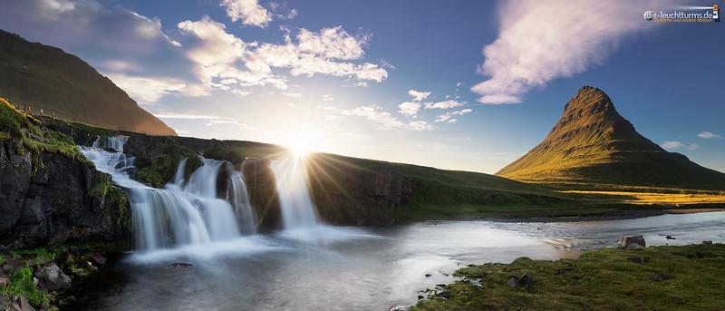 Setting sun behind Kirkjufoss