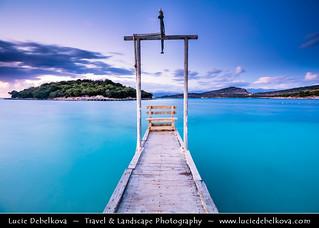 Albania - Albanian Riviera - Ksamil beach at Dusk