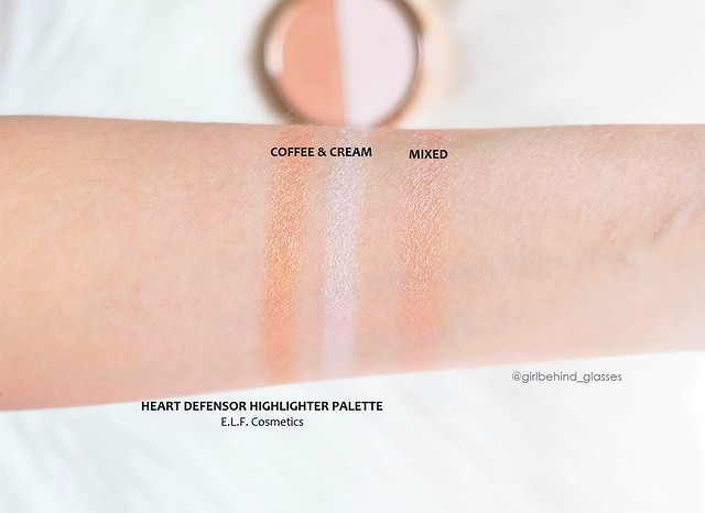 ELF Cosmetics Heart Defensor Coffee and Cream Highlighter Palette swatches