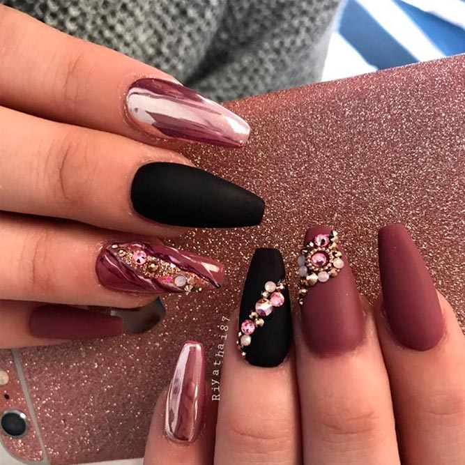 Stunning shades of burgundy nail art 2018 nails c burgundy nails with rhinestones prinsesfo Image collections