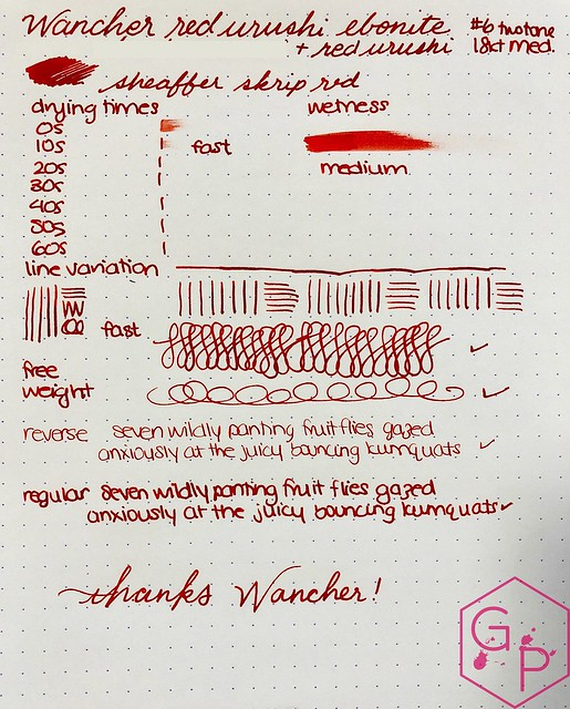 Review @Wancher Red Urushi Ebonite Fountain Pen 15