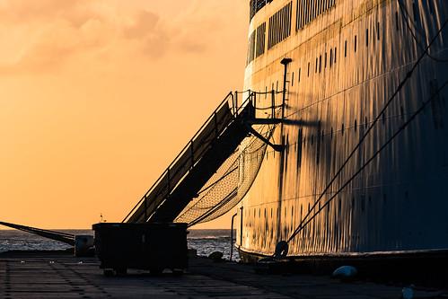 aruba boat caribbean evening harbor harbour oranjestad port ship silhouette sky sunset travel vacation vessel