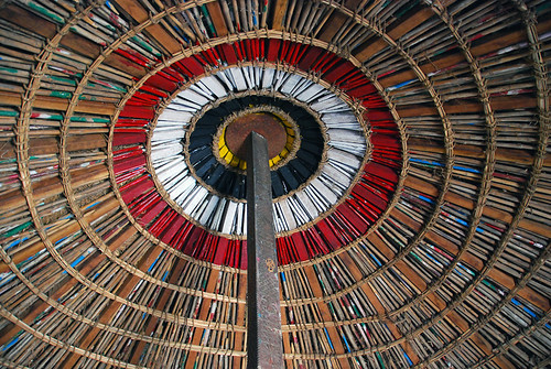 Painted woven wood ceiling in a hut in a faux village near Udaipur, India