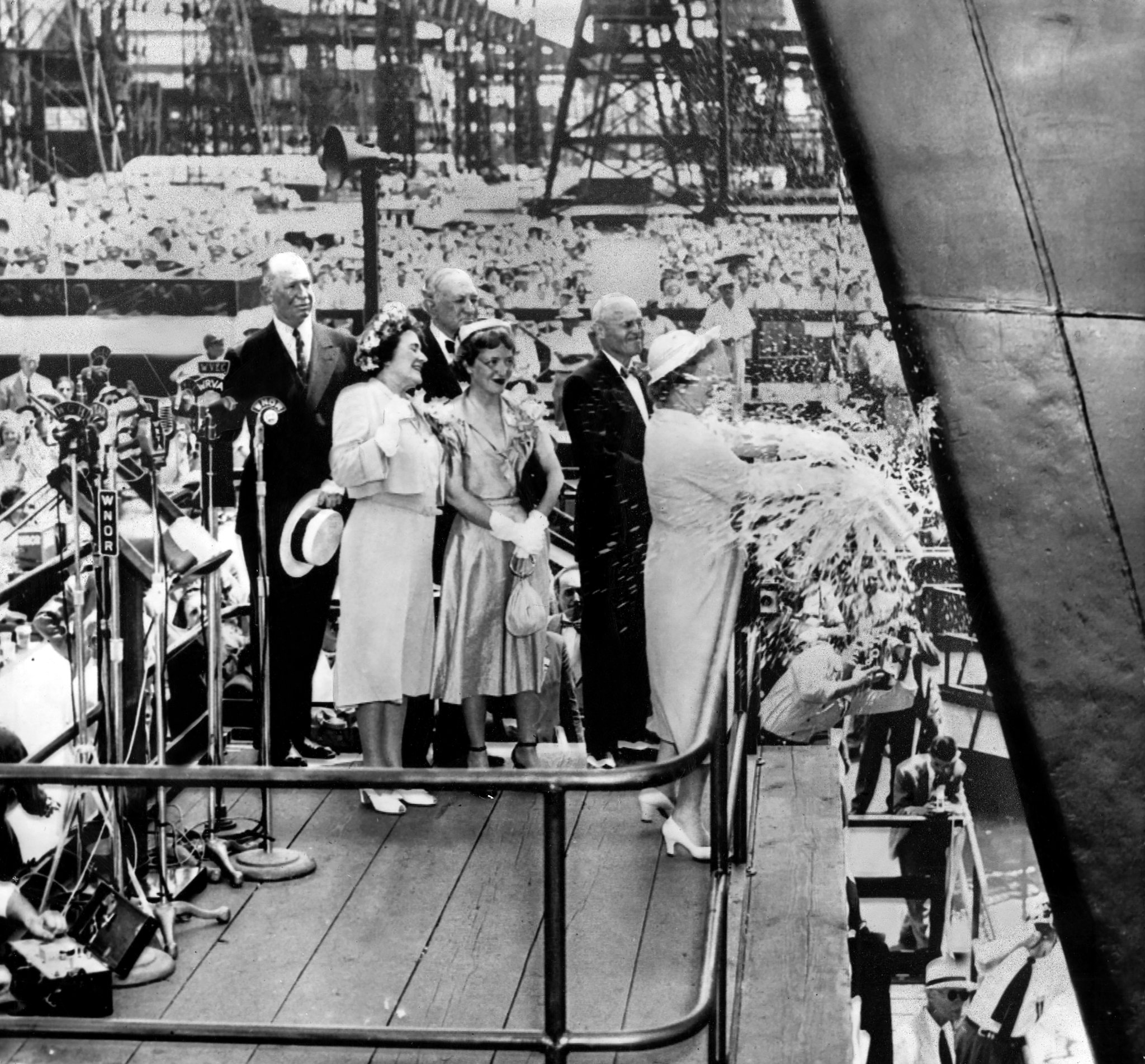 Christening of SS United States at Newport News Shipbuilding & Drydock Company on June 23, 1951.