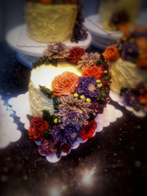 Rustic Floral Cake in Koream Buttercream by Seth Cordell Calvin of Inked Mom's Cakes and Baked Goodies
