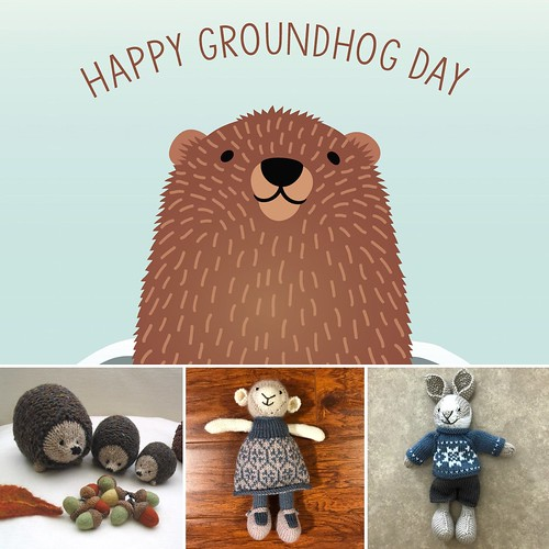 #28daysofyourlys Day 2: Groundhog Day. Hold on...Did he see his shadow? Do we have 6 more weeks of winter to snuggle up and knit? I think we will anyways!! A hedgehog that I want to knit, Caroline, my Girl Lamb and Harry, my Little Rabbit!