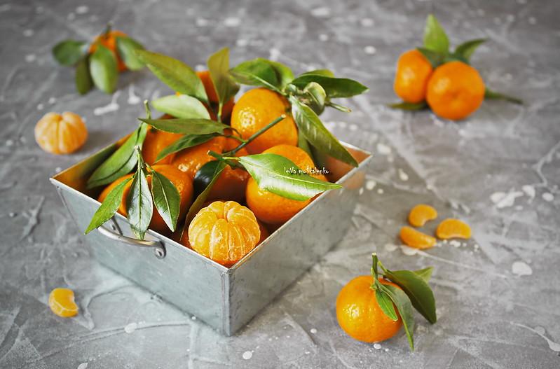 ...tangerines in a metal basket