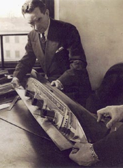 Vladimir Yourkevitch working on his design of SS Normandie
