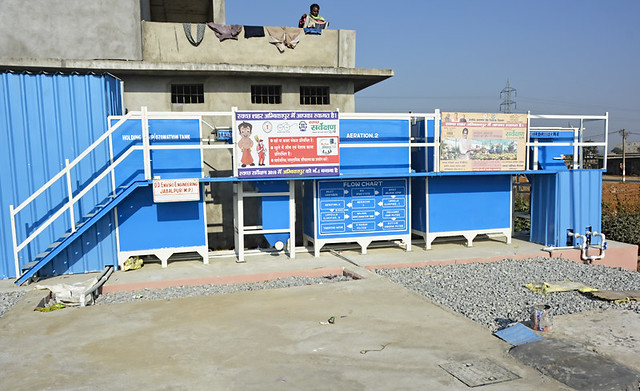 Sewage treatment plant installed at the sanitation park to treat faecal waste.