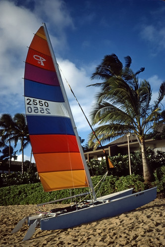 Sailboat on Hawaiian Beach - Kodachrome - 1986