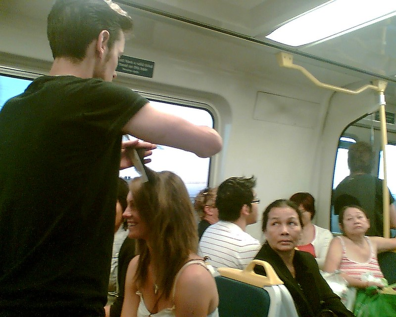 Haircut on the train, February 2008