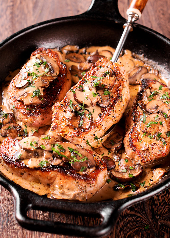Pork Chops in Whiskey Irish Cream Sauce