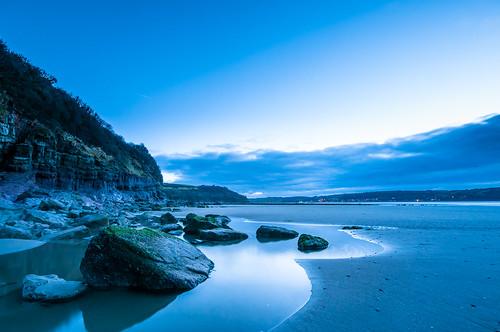 landscape beach bluehour carmarthenshire cliffs clouds coast cymru llansteffan morning reflections rockpools rocks sand seasons sunrise time wales winter