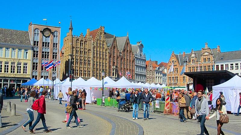 Bruges Medieval Buildings Cobblestone Streets