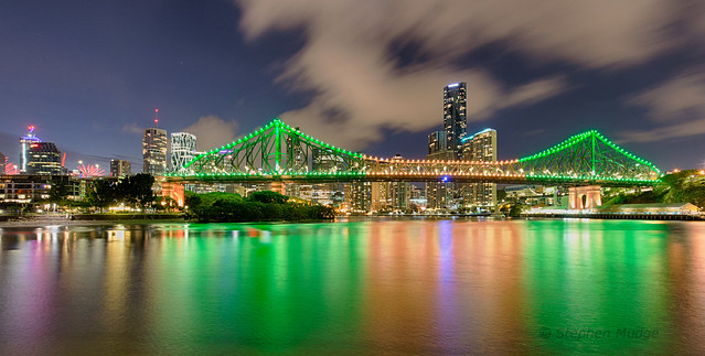 Brisbane's Story Bridge in Green and Gold for Australia Day