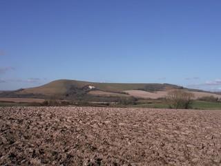 Mount Caburn across fields from Glynde