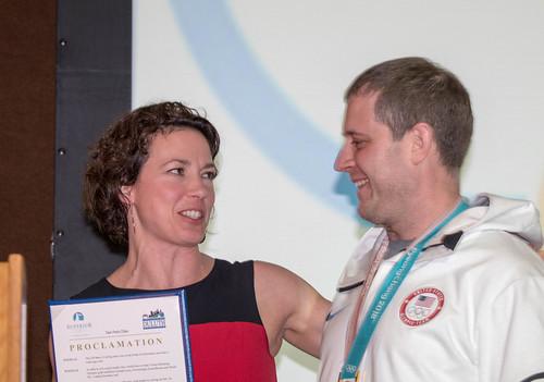 Duluth Mayor Emily Larson and John Shuster