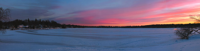 sunset over frozen lake quannapowitt; wakefield, massachusetts