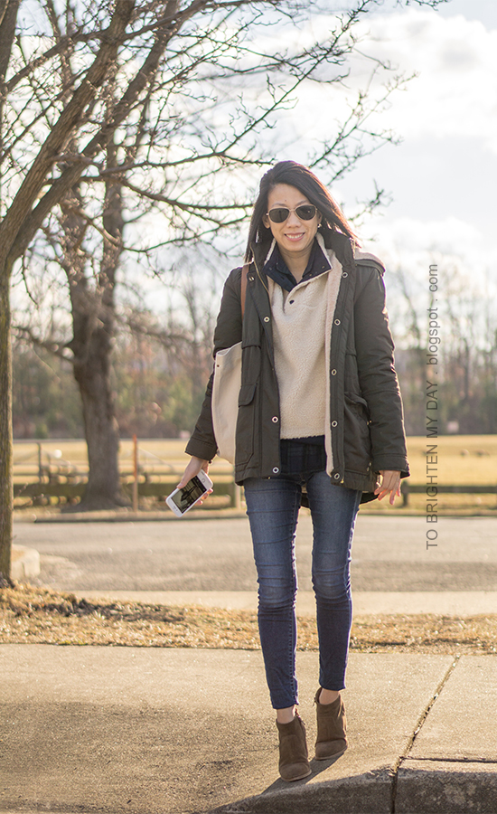 olive green parka, fleece pullover, black watch plaid button up, skinny jeans, canvas tote, suede ankle boots