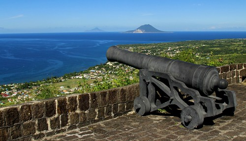 konomark st kitts stkitss brimstone hill fort fortress view day time sunny blue sky ocean beach caribbean sea coast line cannon benteng shore