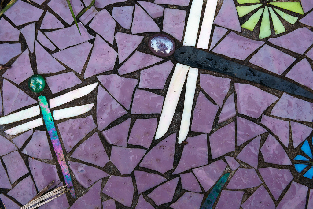 A close-up view of dragonfly art on a stepping stone in the Irvington neighborhood of Portland, Oregon