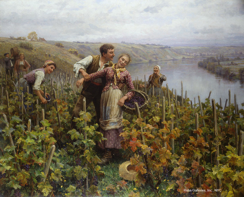 The Grape Harvest by Daniel Ridgway Knight. Image courtesy of Rehs Galleries, Inc., NYC